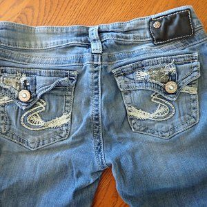 Silver Pioneer Stretch Flap Pocket Jeans Bling